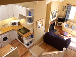 Lounge at Castaway self-catering cottage, Lower Largo, Fife, Scotland, UK
